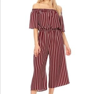 Burgundy striped romper